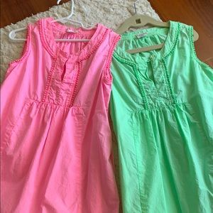 Two Crewcuts size 10 girls neon pink green dresses